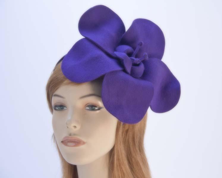 Purple felt flower fascinator