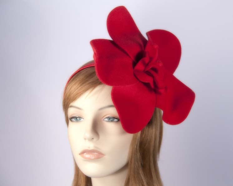 Red felt flower fascinator