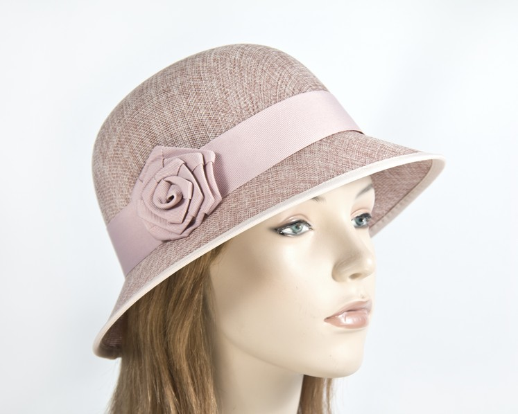 Dusty pink cloche bucket racing hat