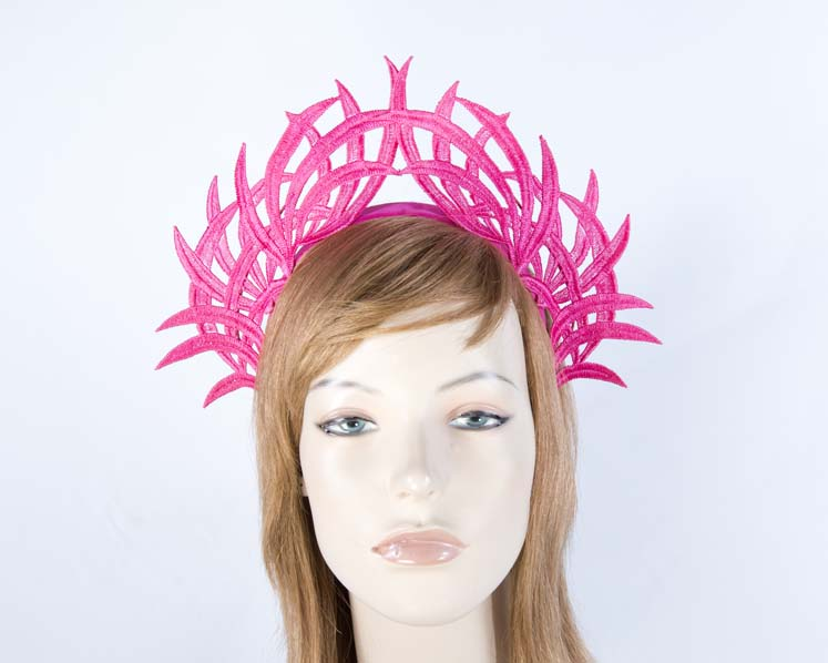 Fuchsia lace crown fascinator