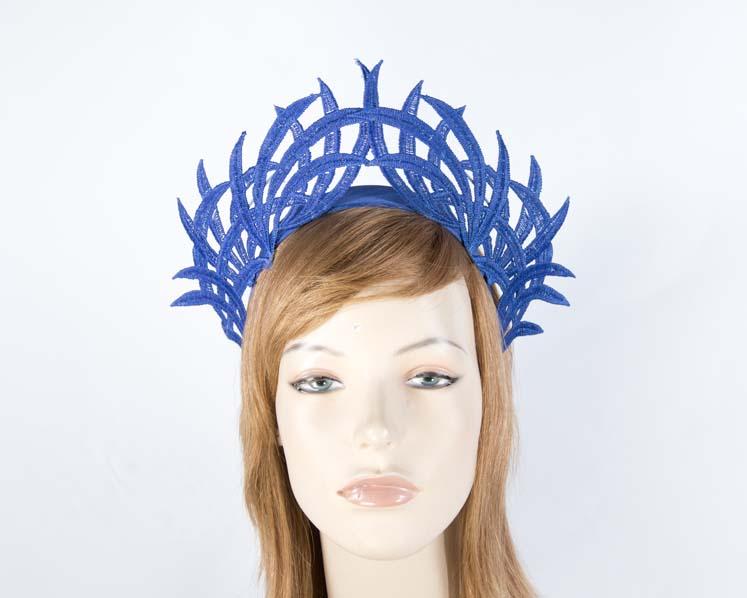 Cobalt blue lace crown fascinator