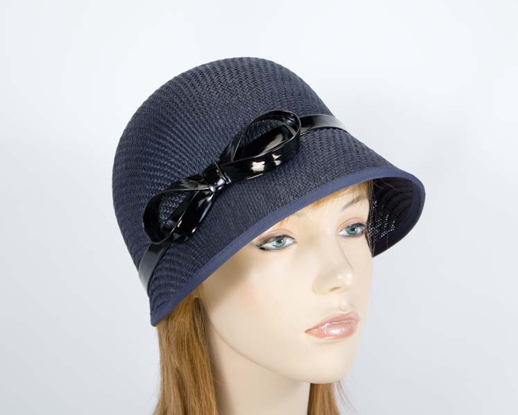 Navy cloche bucket racing hat