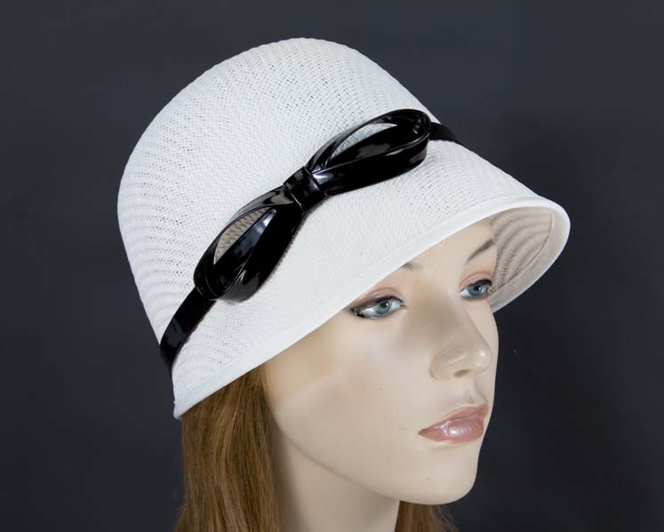 White cloche bucket racing hat