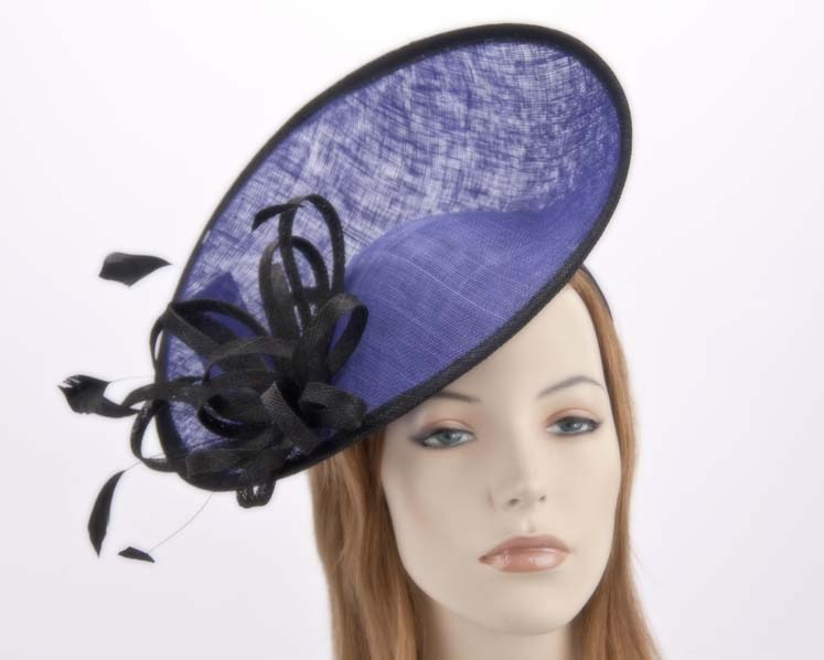 Large royal blue & black racing fascinator