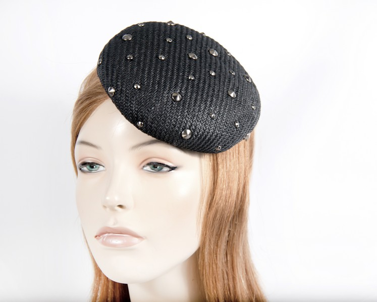 Black pillbox fascinator with studs