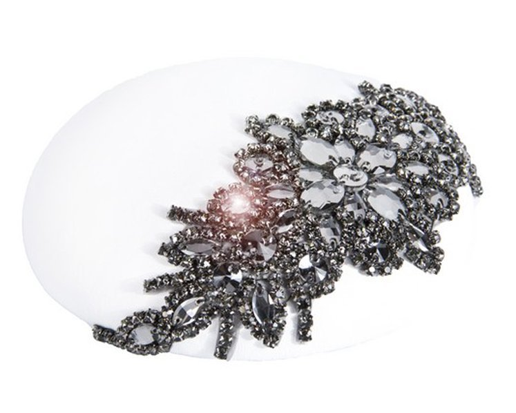 White winter leather fascinator F621W