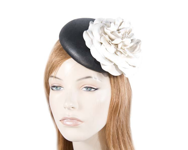 Black cream leather pillbox fascinator J333BC 492702423dd