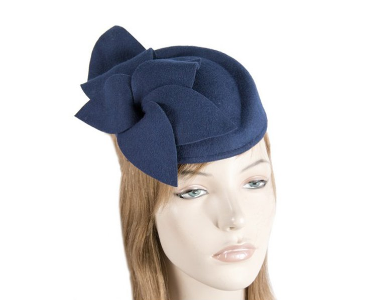 Navy felt pillbox J336N