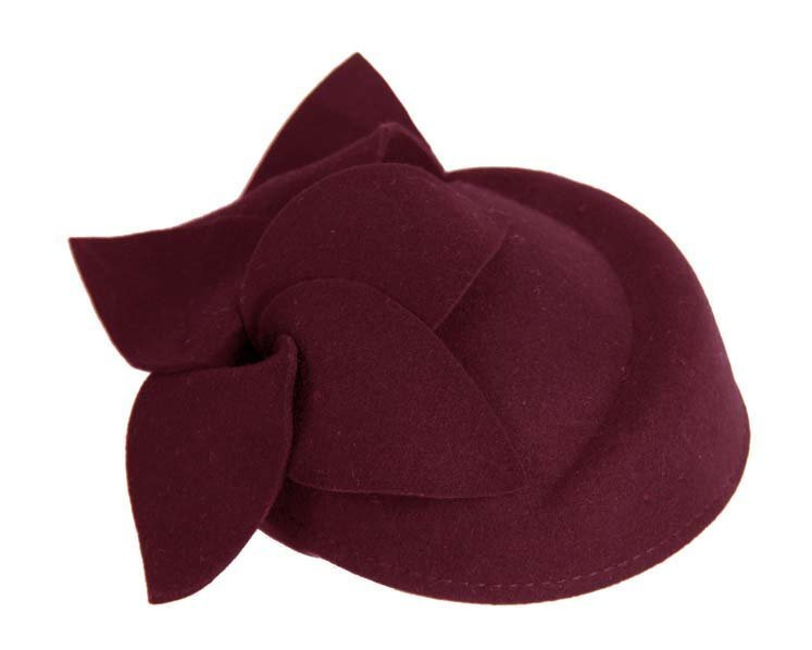 Burgundy felt pillbox J336W