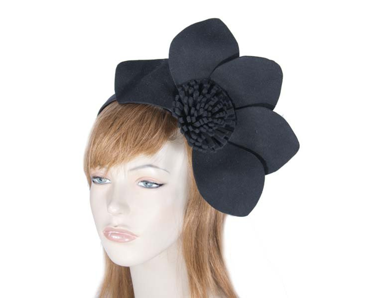 Black felt flower fascinator J338B