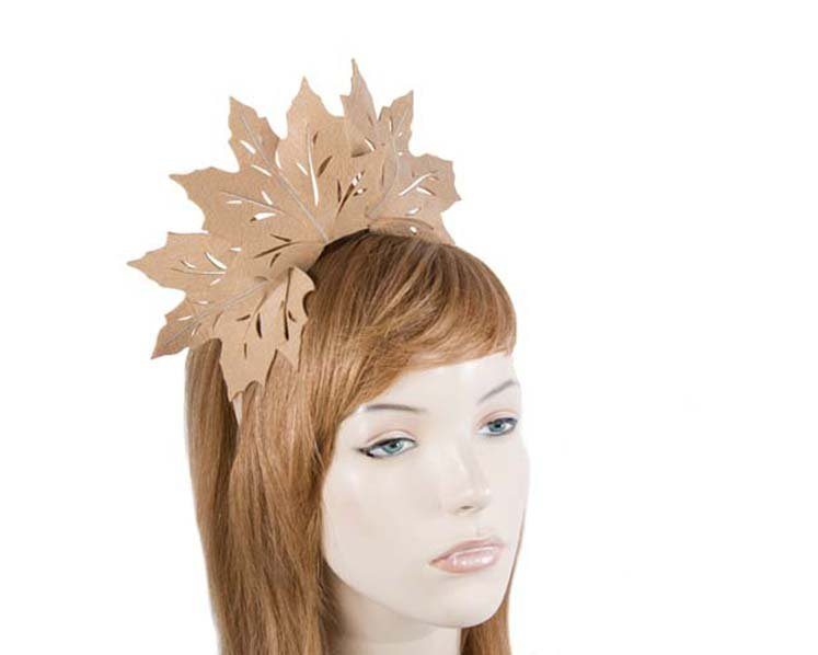 Fascinators Online - Beige Laser Cut felt Maple Leaves on a Headband 1