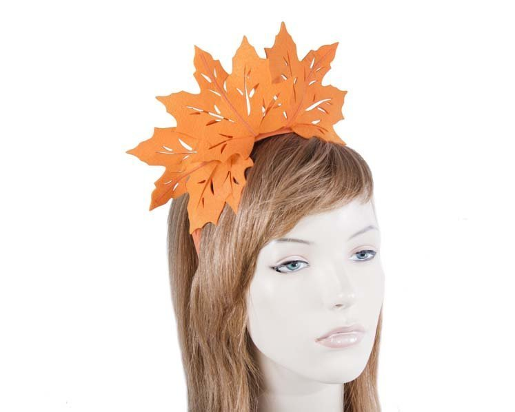 Fascinators Online - Orange Laser Cut felt Maple Leaves on a Headband 2