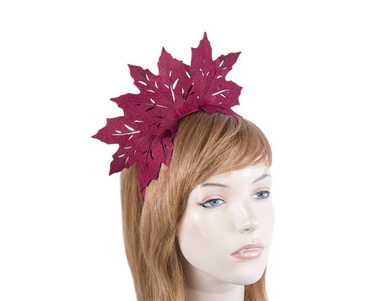 Burgundy laser-cut felt fascinator by Max Alexander