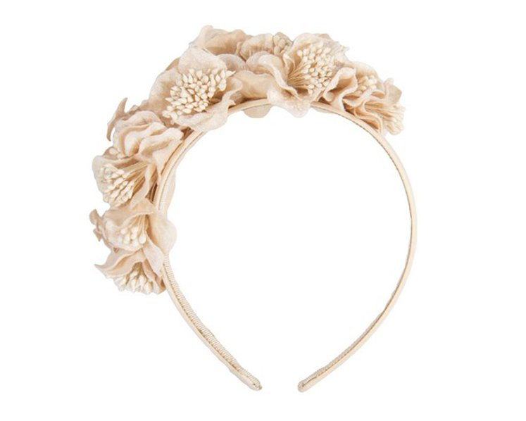 Nude flowers racing fascinator J344NU