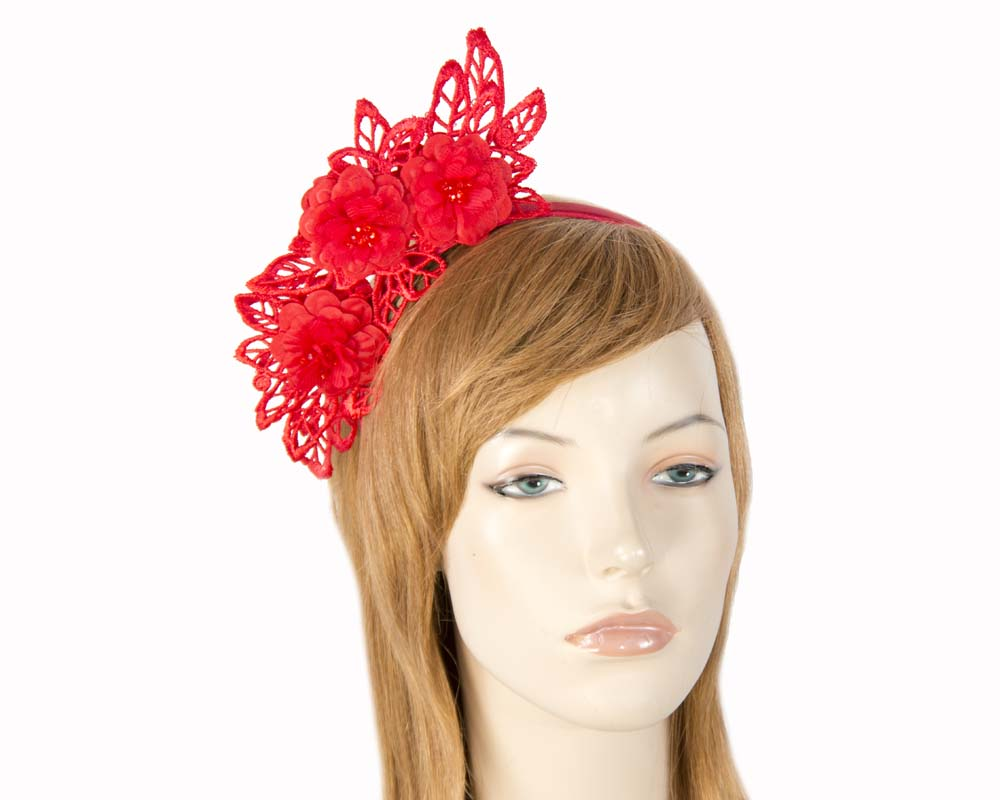 Red lace crown racing fascinator by Max Alexander