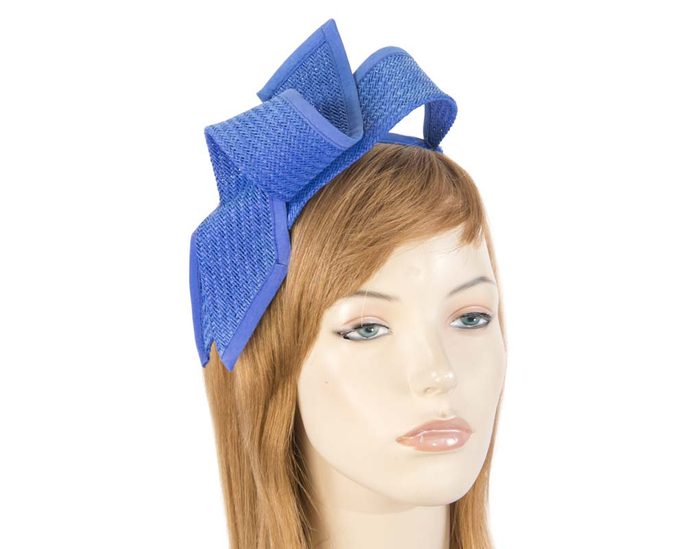 Royal blue racing bow fascinator by Max Alexander
