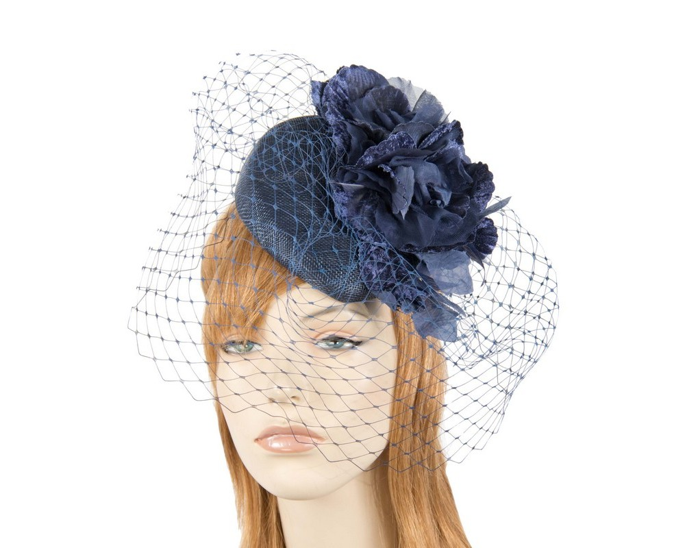 92754e57e3956 Navy racing pillbox fascinator by Fillies Collection