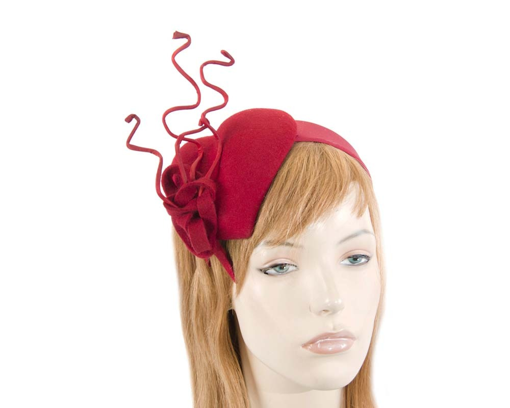 Red felt winter racing fascinator