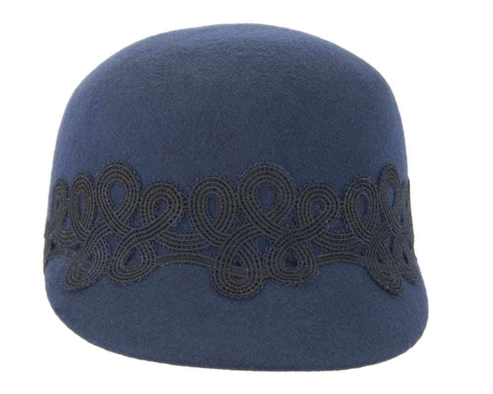 Fascinators Online - Navy felt ladies cap with lace 3