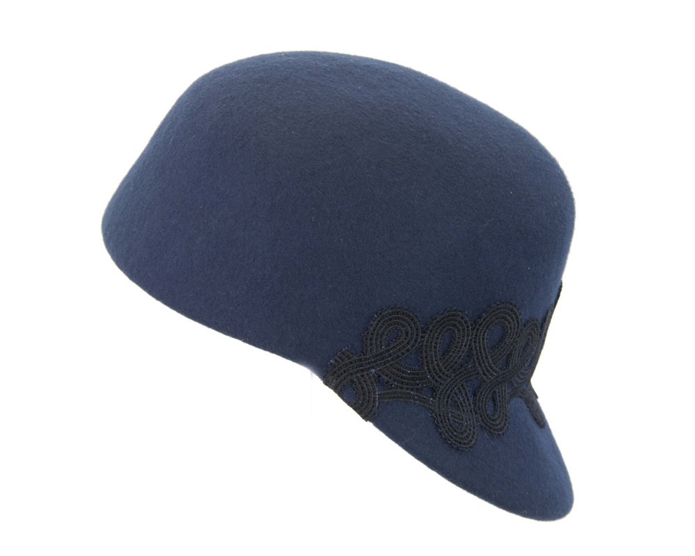 Fascinators Online - Navy felt ladies cap with lace 2