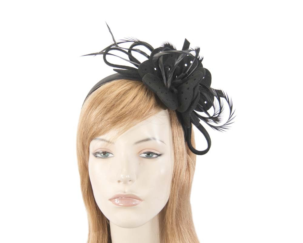 Fascinators Online - Black felt flower and feathers winter fascinator 1