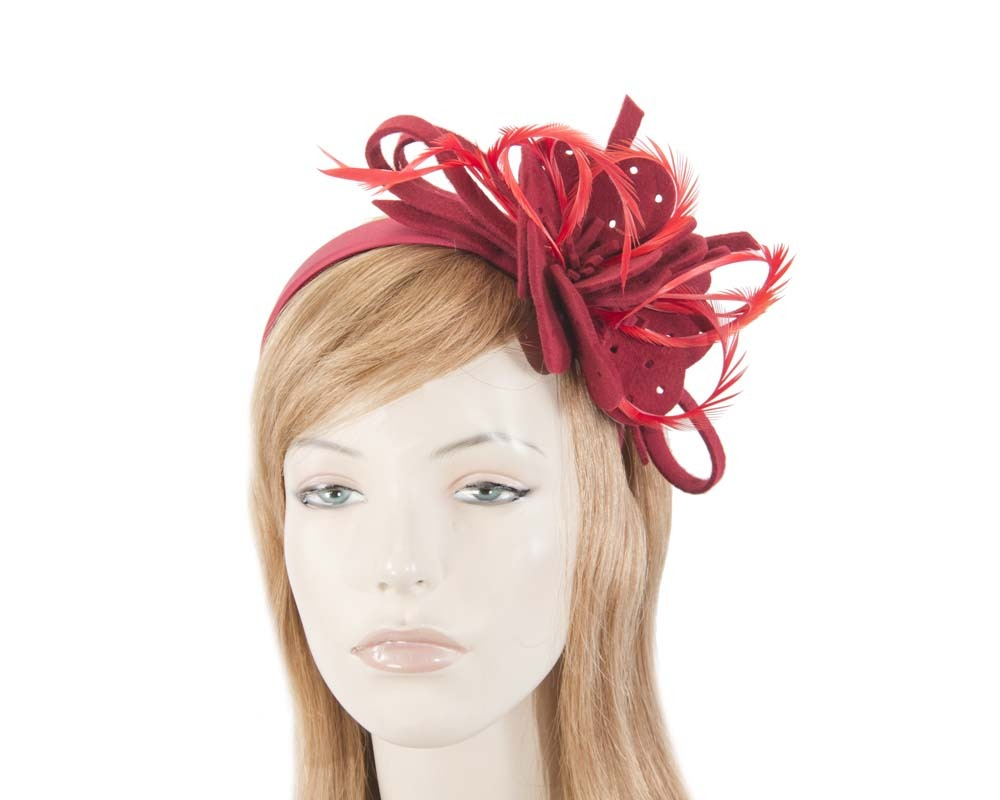 Fascinators Online - Red felt flower and feathers winter fascinator 6