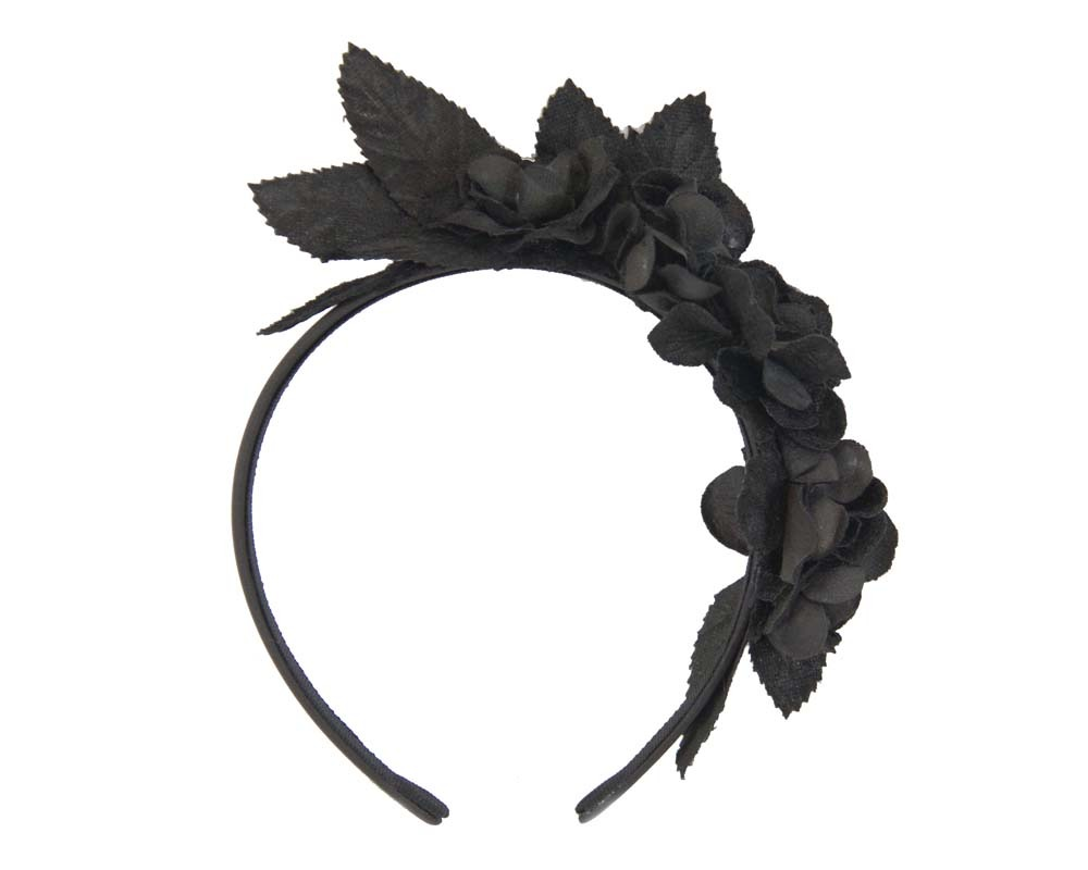 Black flower headband fascinator