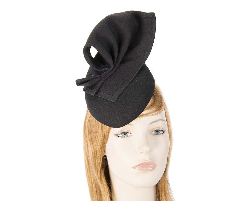 Fascinators Online - Black winter racing pillbox 7