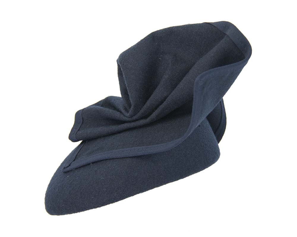 Fascinators Online - Navy winter racing pillbox 5