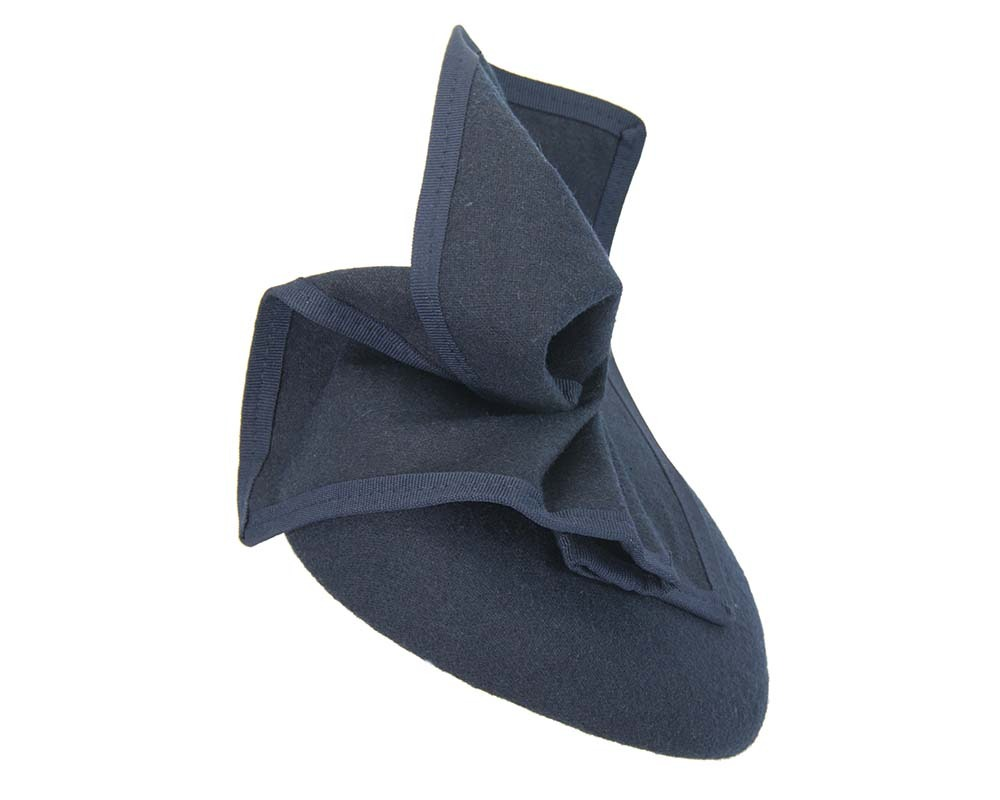 Fascinators Online - Navy winter racing pillbox 3