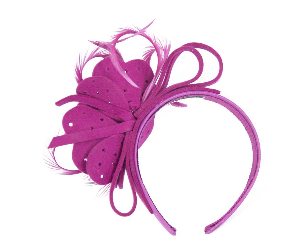 Fascinators Online - Fuchsia felt flower and feathers winter fascinator 4
