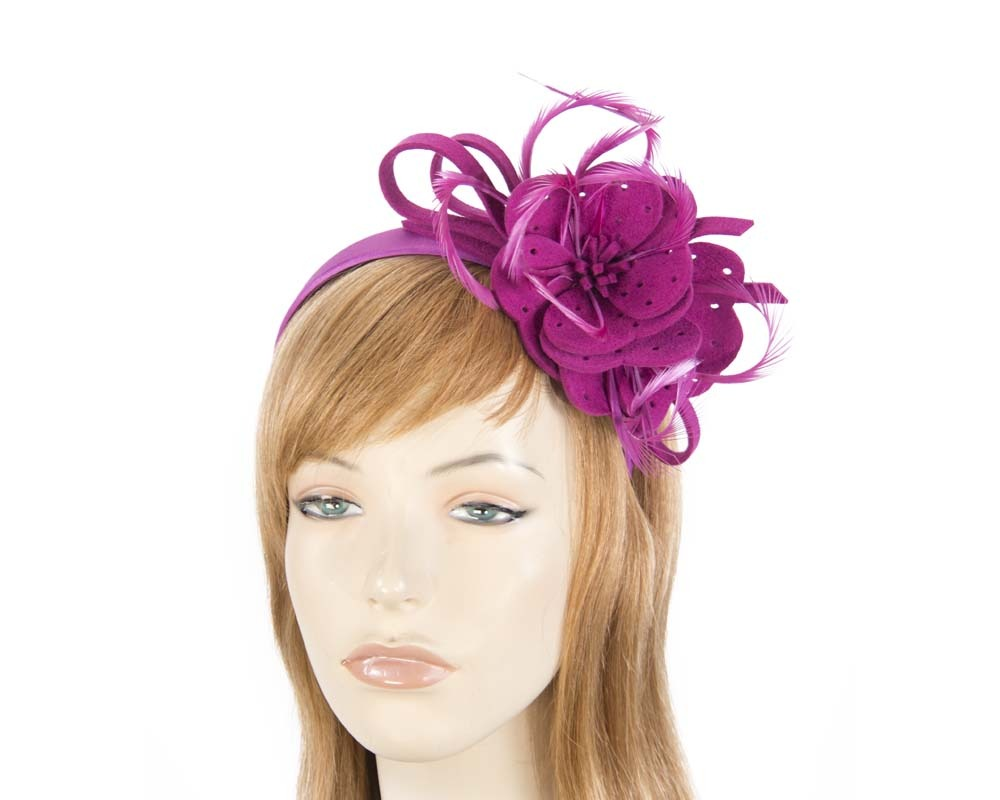Fascinators Online - Fuchsia felt flower and feathers winter fascinator 3