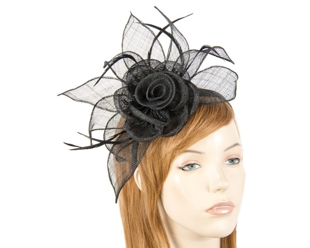 Fascinators Online - Large black sinamay racing fascinators 9