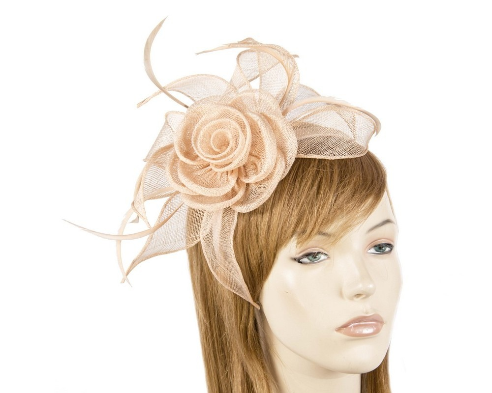 Fascinators Online - Large nude sinamay racing fascinators 4