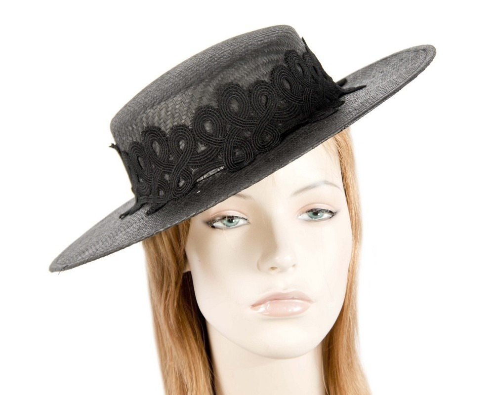Fascinators Online - Black fashionable boater hat with lace 7