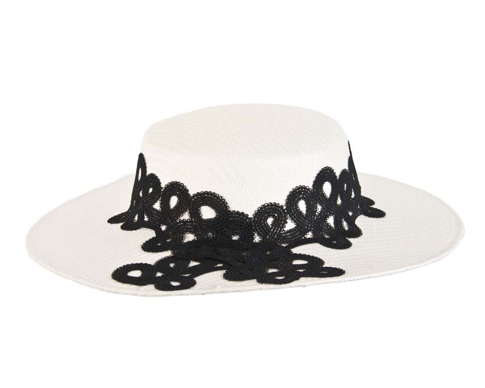 Fascinators Online - White & black fashionable boater hat with lace 4