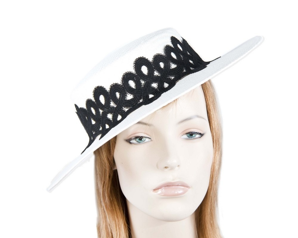 Fascinators Online - White & black fashionable boater hat with lace 1