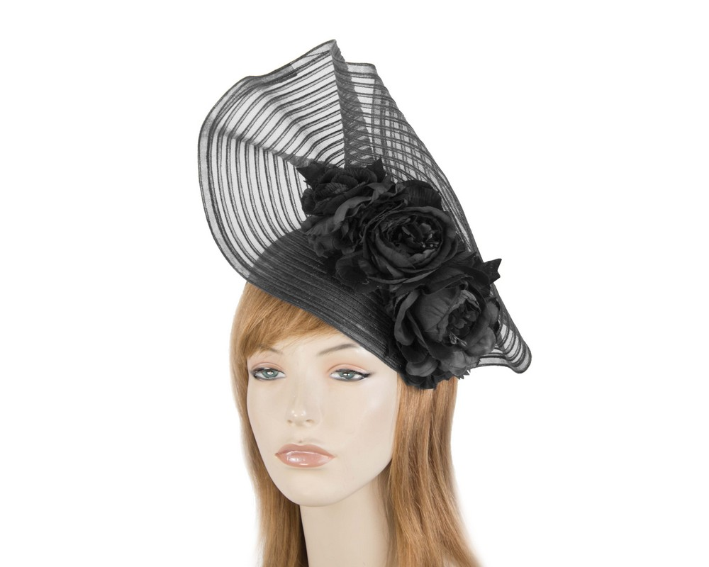 Fascinators Online - Large black racing fascinator with flowers by Fillies Collection 1
