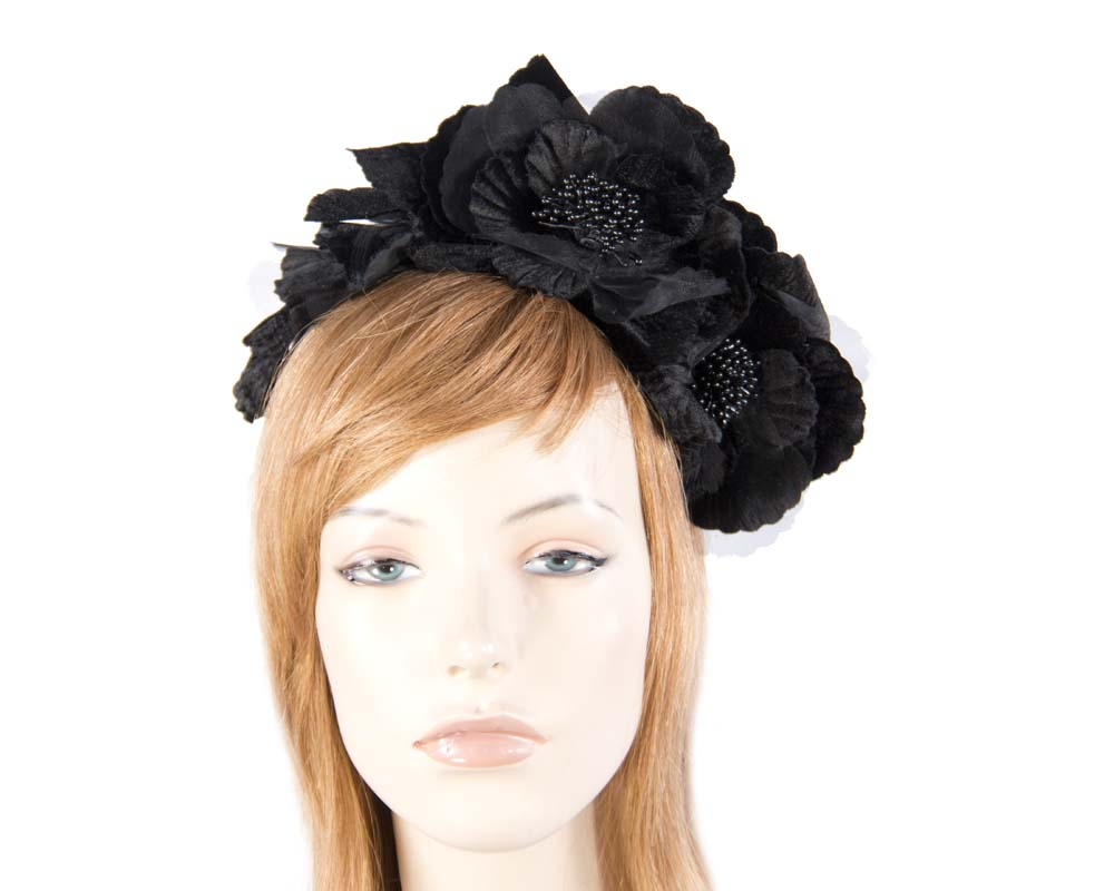Fascinators Online - Black flowers on the headband 1