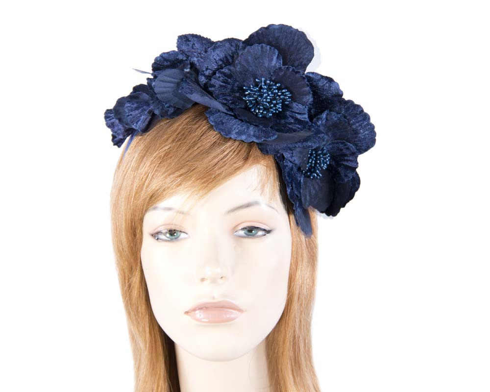 Fascinators Online - Navy flowers on the headband 3