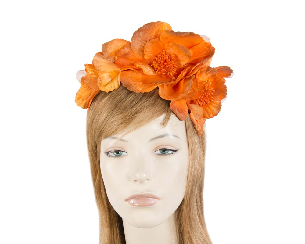 Fascinators Online - Burnt orange flowers on the headband 7