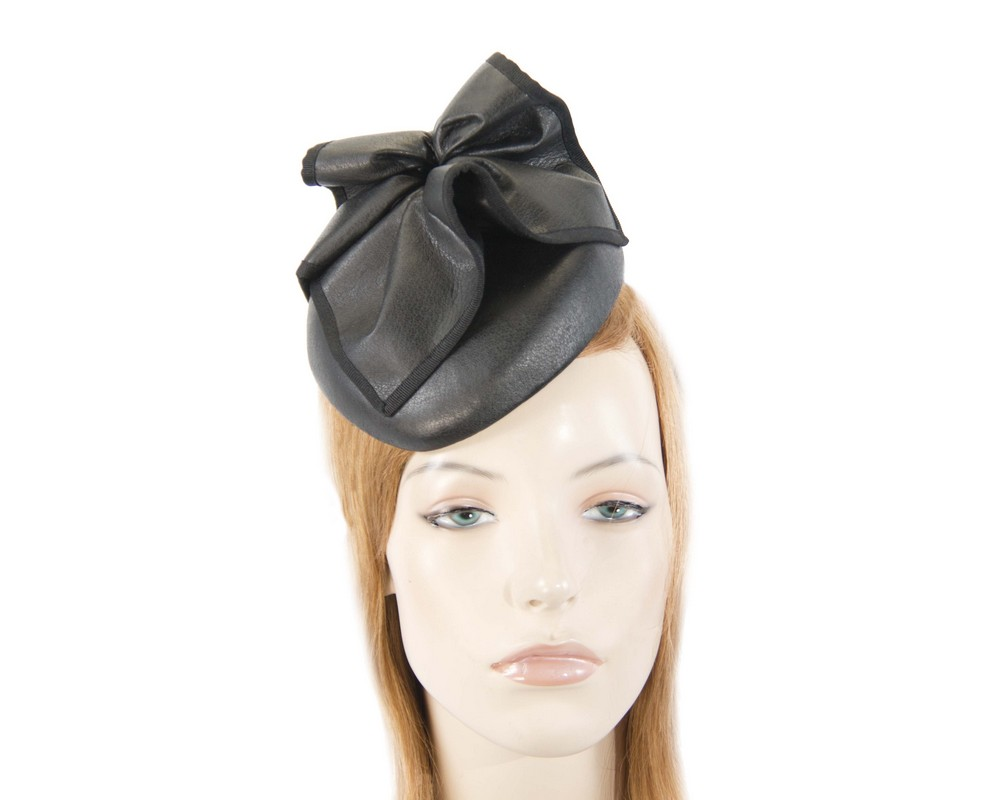Fascinators Online - Black leather pillbox fascinator by Max Alexander 9