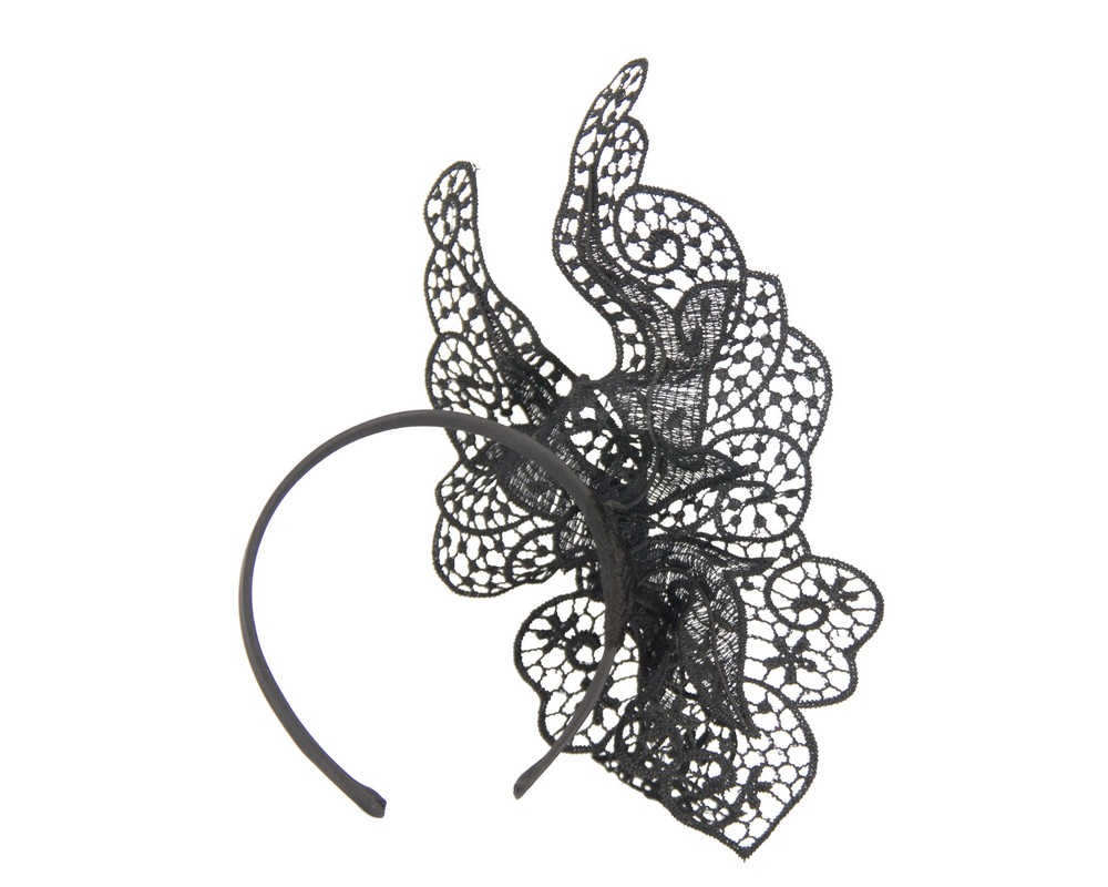Fascinators Online - Black lace butterfly fascinator 4