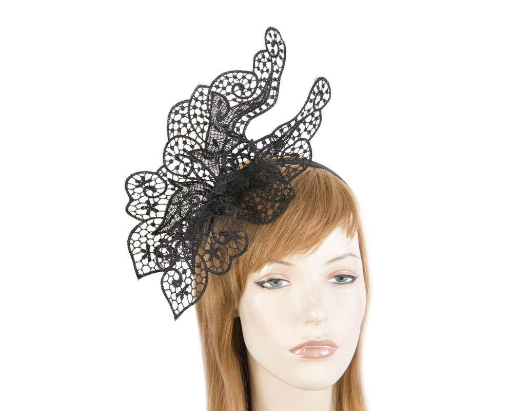 Fascinators Online - Black lace butterfly fascinator 1