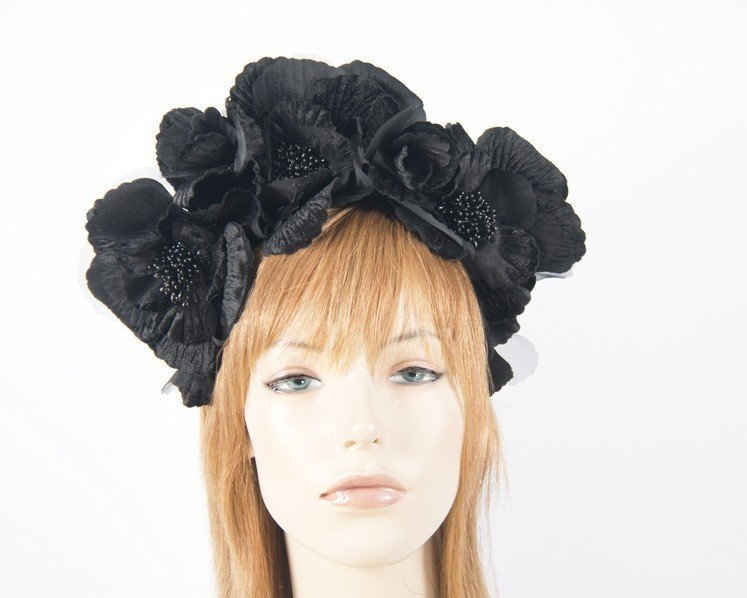 Fascinators Online - Black flower halo 26