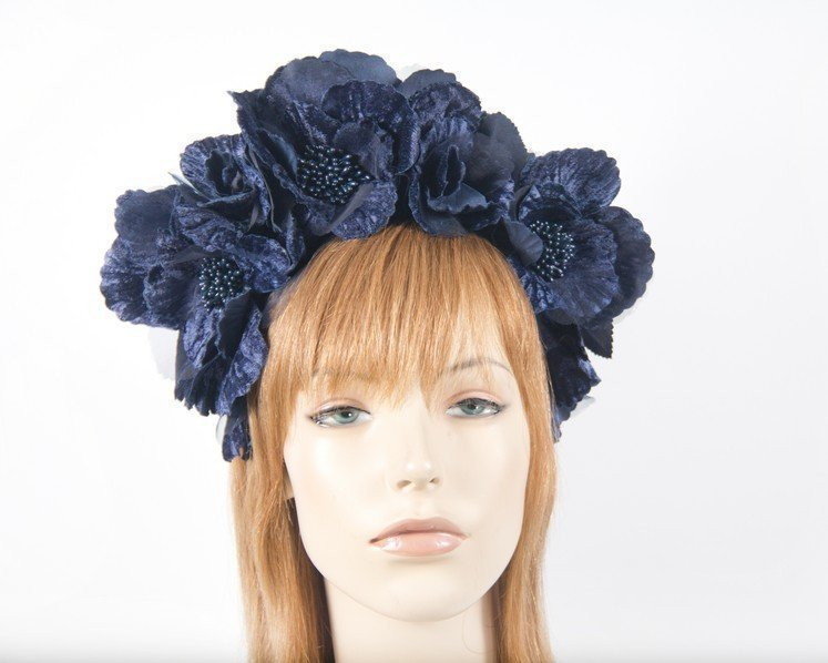 Fascinators Online - Navy flower halo 24