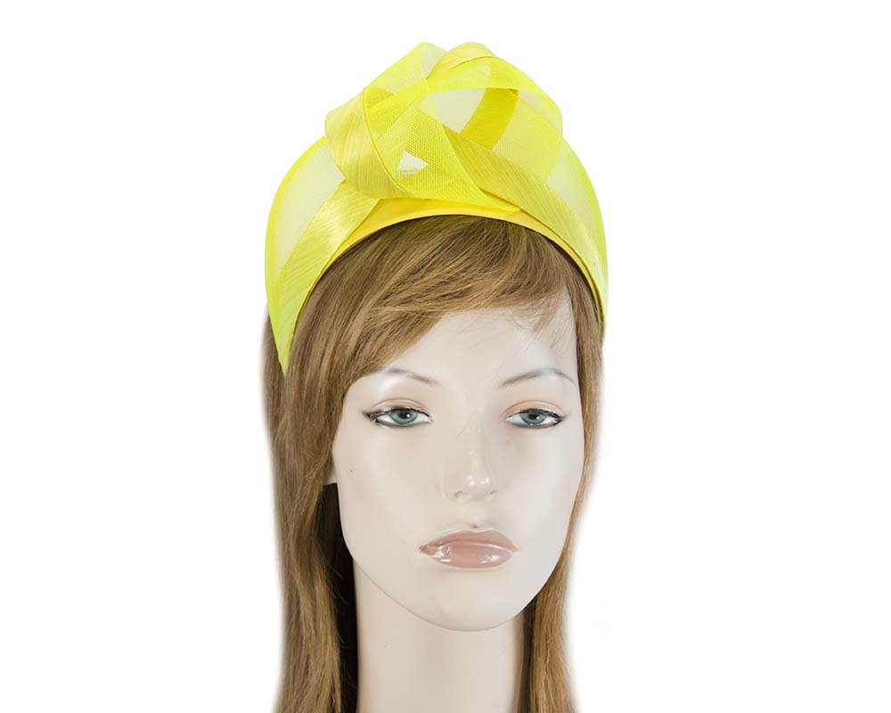 Fascinators Online - Yellow turban headband by Fillies Collection 1