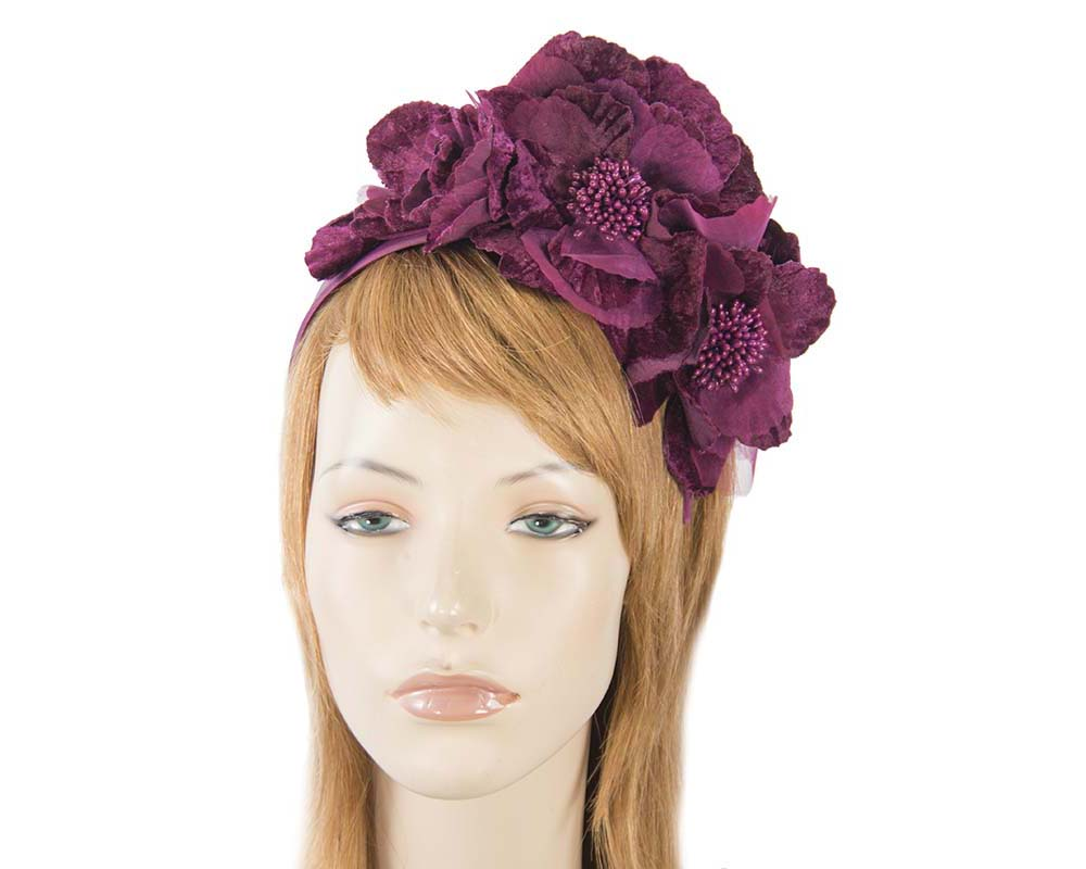 Fascinators Online - Burgundy flowers on the headband 20