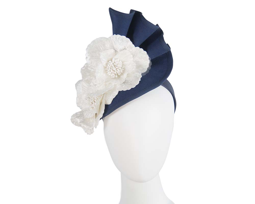Fascinators Online - Navy & cream felt winter racing fascinator 18