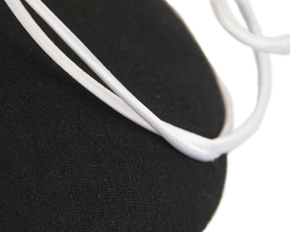 Fascinators Online - Black felt fascinator hat with white trim by Fillies Collection 5